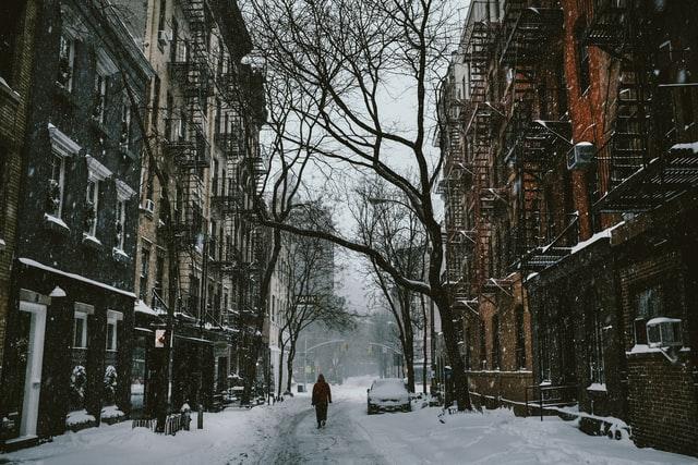 New York winter street scene