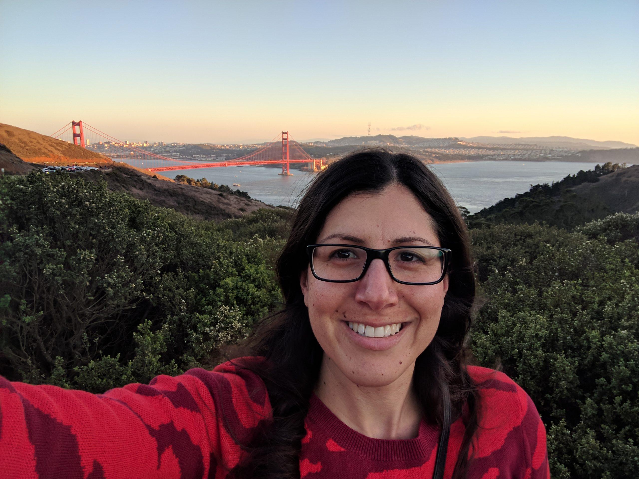 woman in front of Golden Gate Bridge