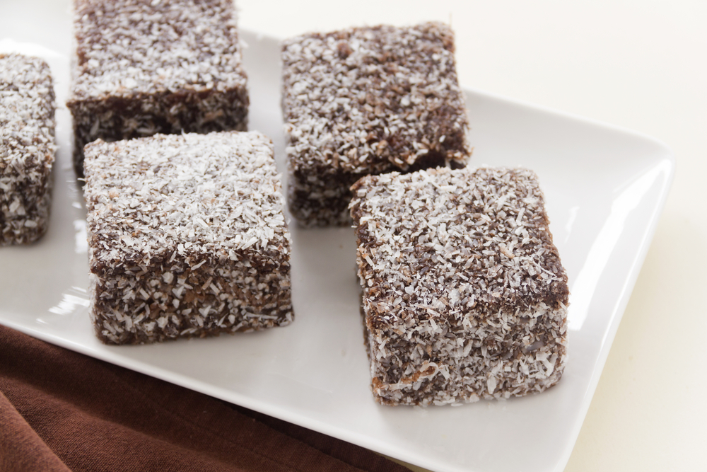The iconic Australian cake the lamington made with chocolate and coconut.