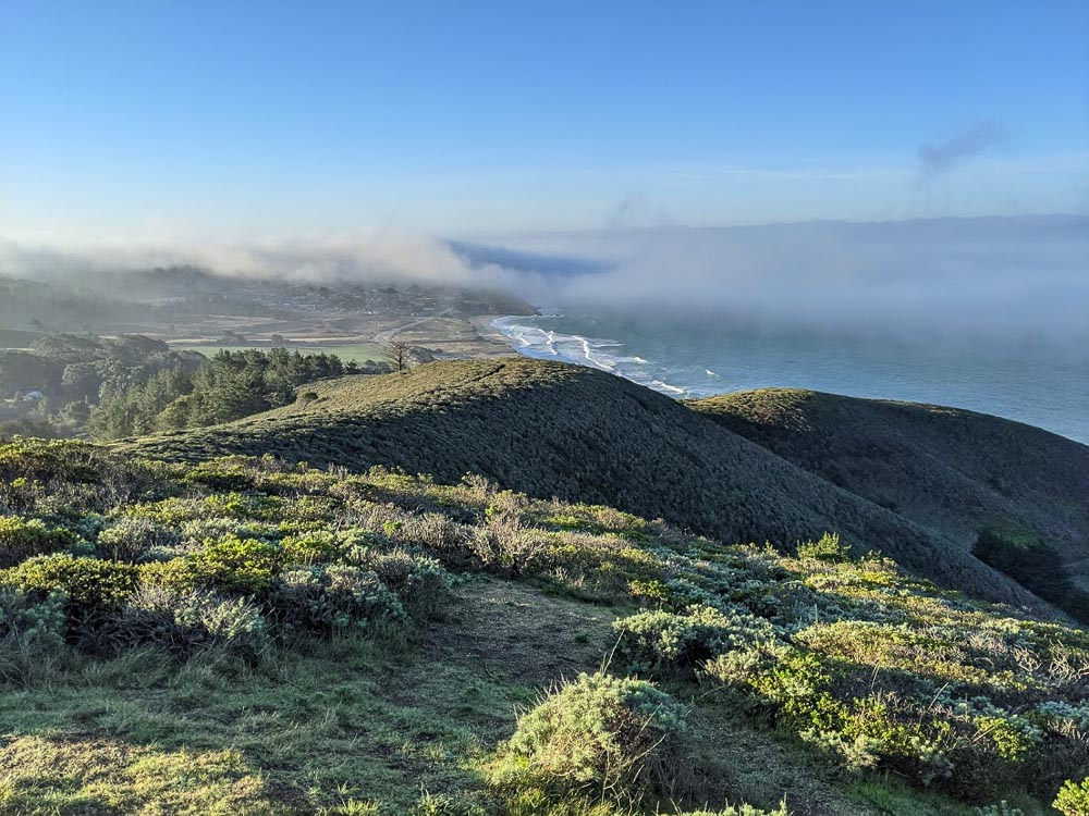 Pacific Ocean views over grassy hills