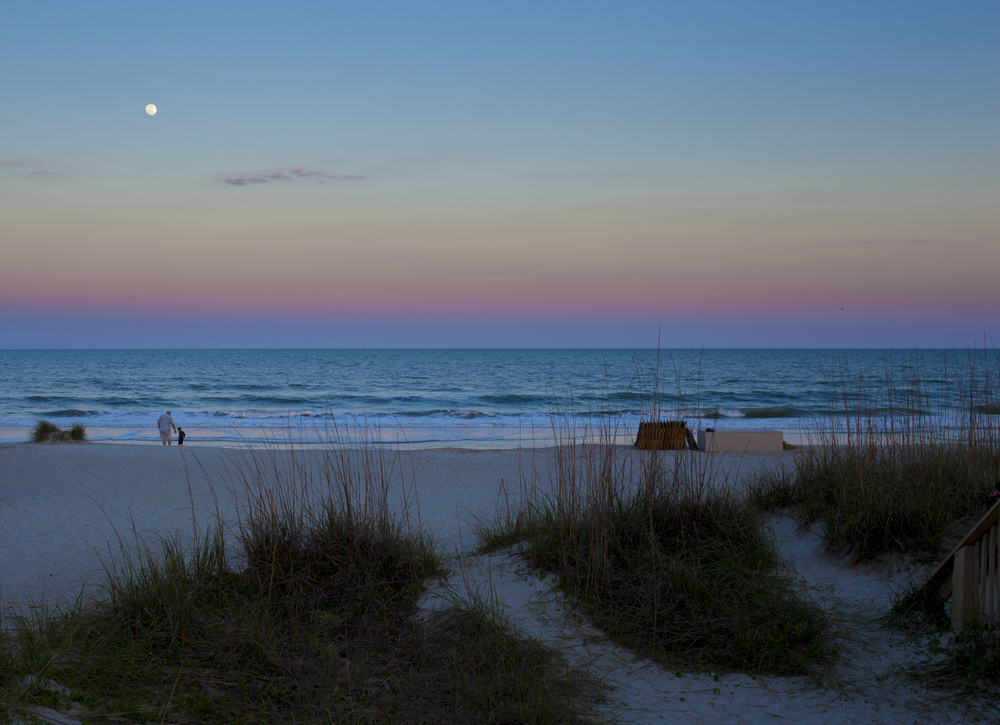 A beach at dusk with grassy dunes in the foreground