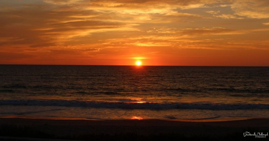 The sun rising over the Outer Banks