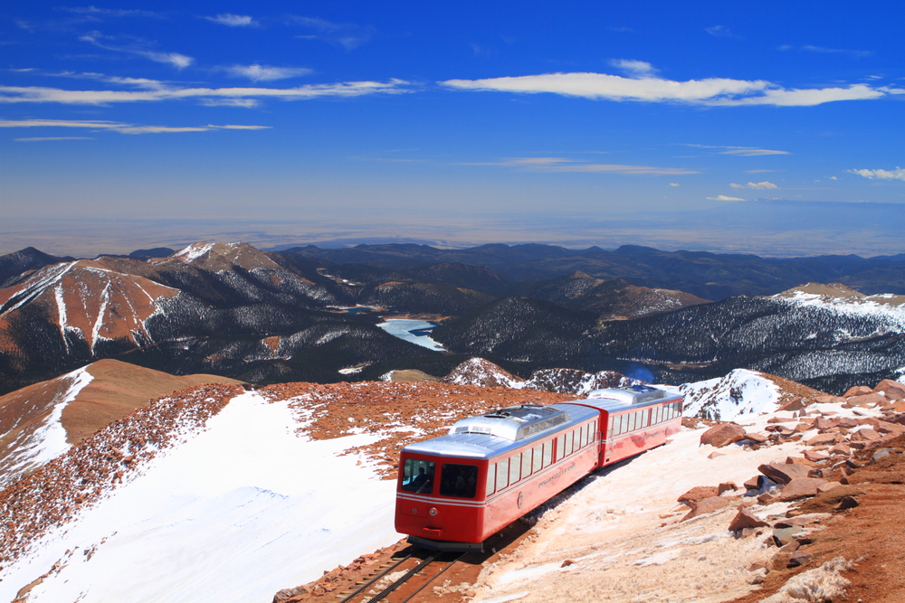 A train running along Pikes Peak in Colorado