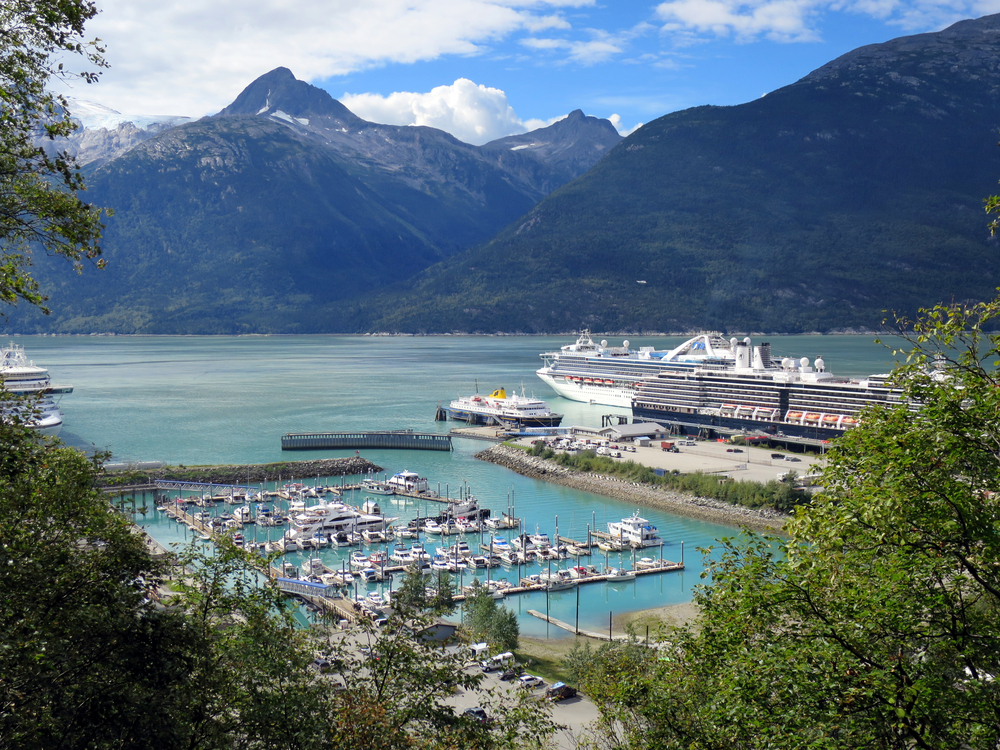 Cruise ship and boats moored in Skagway, Alaska