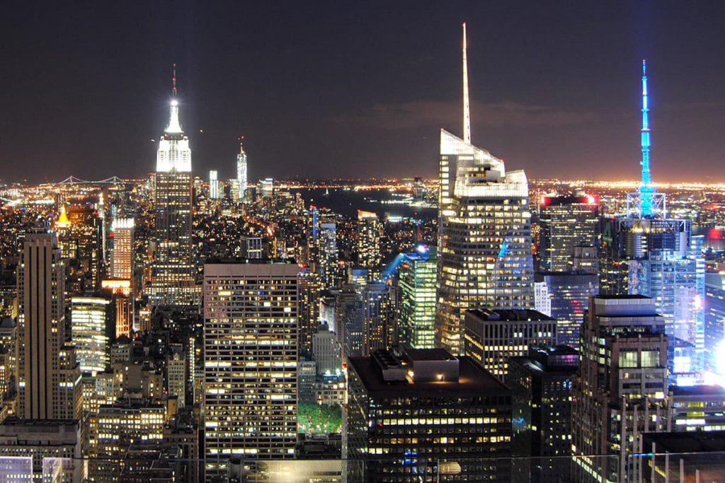 View from the top of the Rockefeller Building in New York at night